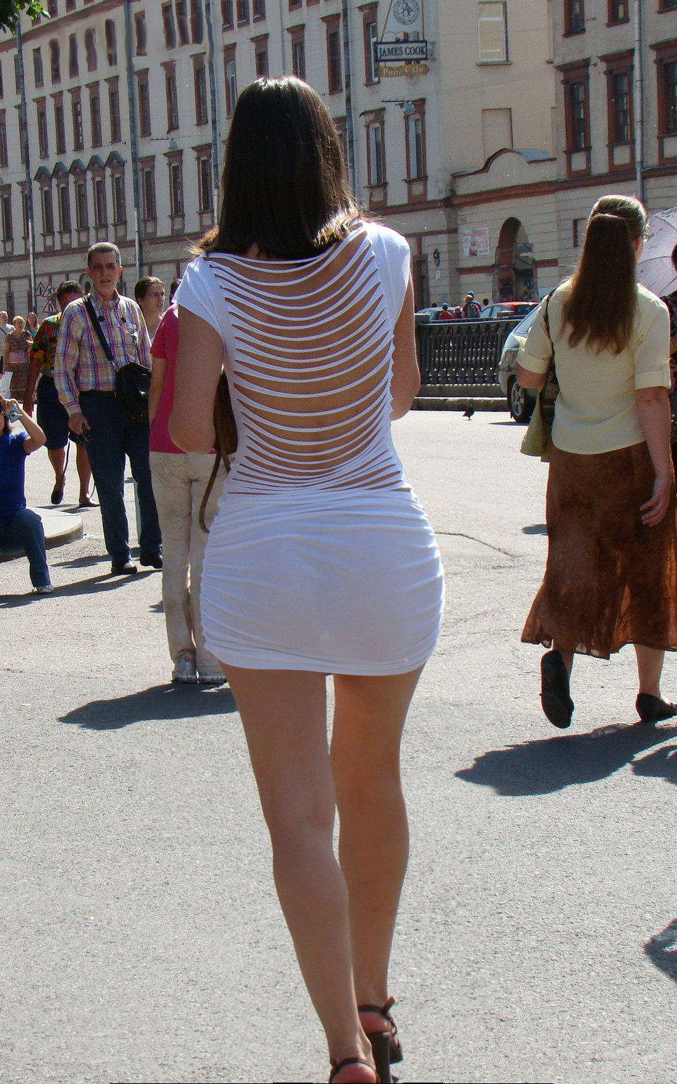 super sexy candid street babe with sexy legs ass packed in white tight